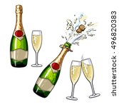champagne bottle and glasses ... | Shutterstock .eps vector #496820383