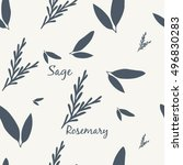 sage and rosemary simple...   Shutterstock .eps vector #496830283