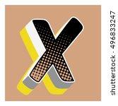 x letter comic alphabet retro... | Shutterstock .eps vector #496833247