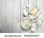 fresh dairy products on white... | Shutterstock . vector #496835407