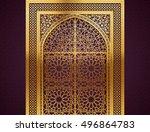 ramadan background with golden... | Shutterstock .eps vector #496864783
