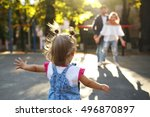look from behind at jazzy child ... | Shutterstock . vector #496870897