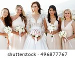 portrait of gorgeous bride and... | Shutterstock . vector #496877767