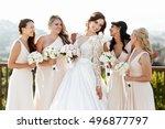 grogeous dark haired bride in... | Shutterstock . vector #496877797