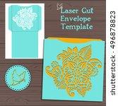 lasercut vector wedding... | Shutterstock .eps vector #496878823