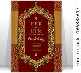 indian wedding invitation or... | Shutterstock .eps vector #496883617