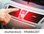 driver pressing red triangle... | Shutterstock . vector #496886287