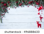 christmas wooden background... | Shutterstock . vector #496888633
