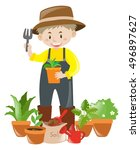 farmer with plants gardening | Shutterstock .eps vector #496897627