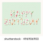 happy birthday card | Shutterstock .eps vector #496906903
