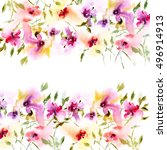 floral background. watercolor... | Shutterstock . vector #496914913