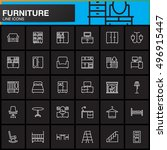 furniture line icons set  home... | Shutterstock .eps vector #496915447