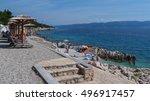 white stone beach at the... | Shutterstock . vector #496917457
