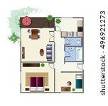 architecture plan with... | Shutterstock .eps vector #496921273