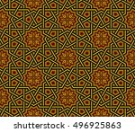 islamic pattern  golden   black ... | Shutterstock .eps vector #496925863