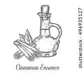 cinnamon essence oil bottle... | Shutterstock .eps vector #496935127