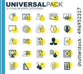 set of 25 universal icons on... | Shutterstock .eps vector #496952317