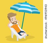 a hipster man with the beard... | Shutterstock .eps vector #496953943