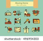 warehouse logistic thin line... | Shutterstock .eps vector #496954303