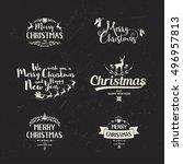 merry christmas lettering... | Shutterstock .eps vector #496957813