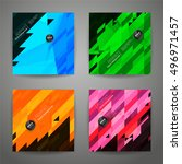 set of polygonal geometric... | Shutterstock .eps vector #496971457