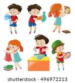 children doing different things ... | Shutterstock .eps vector #496972213