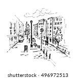 hand drawn european street.... | Shutterstock .eps vector #496972513