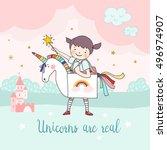 girl in an unicorn costume ... | Shutterstock .eps vector #496974907