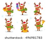 cute reindeer set | Shutterstock .eps vector #496981783
