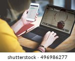 live stream video multimedia... | Shutterstock . vector #496986277
