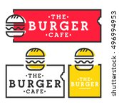 burger cafe. set burger logo ... | Shutterstock .eps vector #496994953