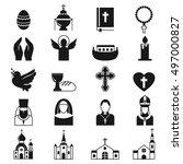 vector black religion icon set | Shutterstock .eps vector #497000827