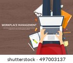 workplace in office with table... | Shutterstock .eps vector #497003137