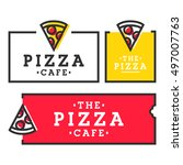 pizza cafe. set pizza logo ... | Shutterstock .eps vector #497007763