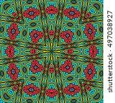 symmetrical melting colorful... | Shutterstock . vector #497038927