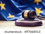 judges wooden gavel with eu... | Shutterstock . vector #497068513