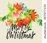 christmas card. watercolor... | Shutterstock . vector #497077153