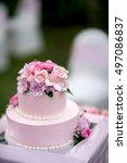 beautiful wedding cake  close... | Shutterstock . vector #497086837