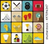 sport equipment icons set in... | Shutterstock . vector #497096347