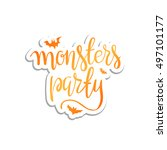halloween party template... | Shutterstock .eps vector #497101177