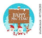 happy new year wooden sign...   Shutterstock .eps vector #497106283