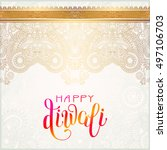 happy diwali gold greeting card ... | Shutterstock .eps vector #497106703
