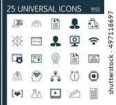 set of 25 universal icons on... | Shutterstock .eps vector #497118697