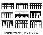 set of bridge silhouettes.... | Shutterstock .eps vector #497119453