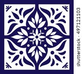 Blue White Tile Vector. Delft...