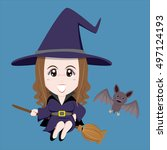 halloween witch flying by her... | Shutterstock .eps vector #497124193