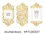 vector set of golden frames and ... | Shutterstock .eps vector #497130337