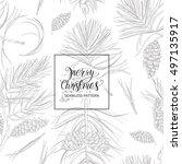 seamless christmas pattern.... | Shutterstock .eps vector #497135917
