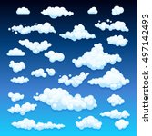 cartoon clouds. illustration on ... | Shutterstock . vector #497142493