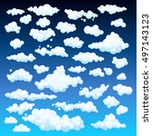 cartoon clouds set on blue sky... | Shutterstock . vector #497143123